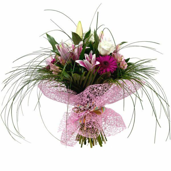 Ramo de lilium oriental, rosas y gerberas - Floristería Núñez