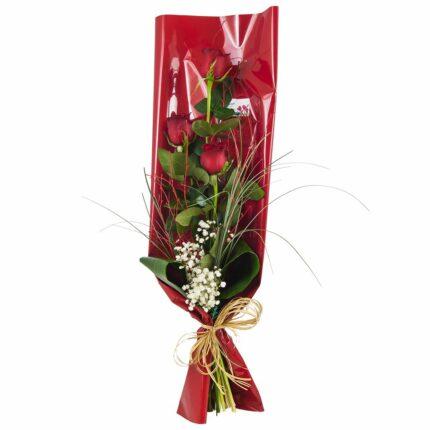 Ramo de tres rosas rojas - Floristería Núñez