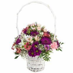 Cesta de flor en tonos rosas - Flores Núñez